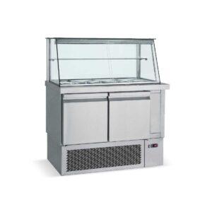 SM 110,  Ψυγείο σαλατών με βιτρίνα για λεκανάκια GN 1/4 BAMBAS