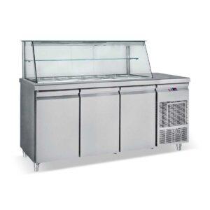 SM 155,  Ψυγείο σαλατών με βιτρίνα για λεκανάκια GN 1/4 BAMBAS